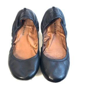 Lucky Brand Black Emmie Ballerina Flats Sz 9.5 EUC